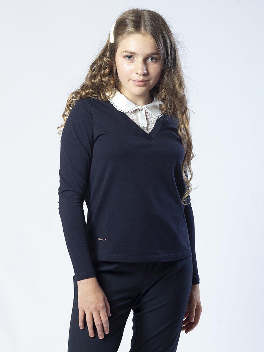 Джемпер обманка девочка, цвет: темно-синий