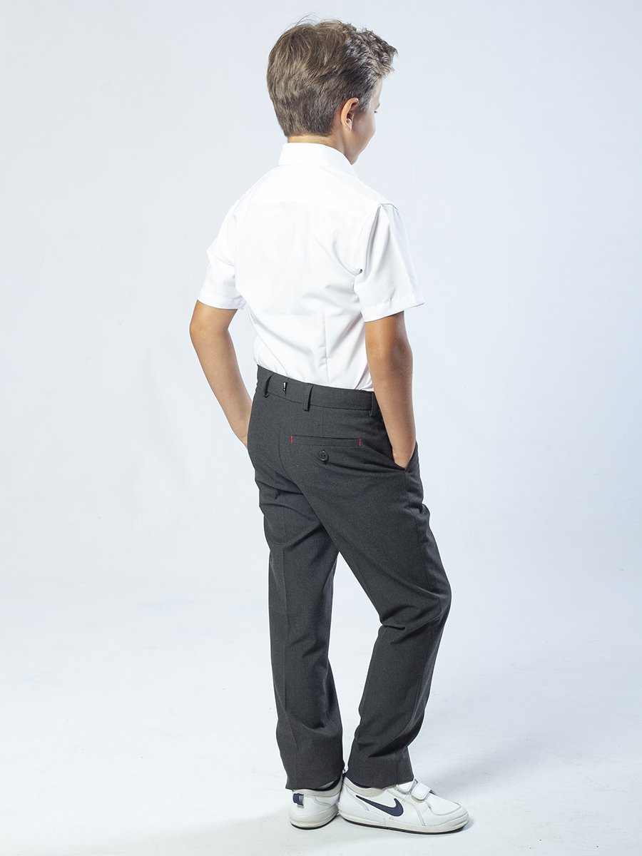 Брюки для мальчика классические, умеренного объема из текстиля, цвет: серый