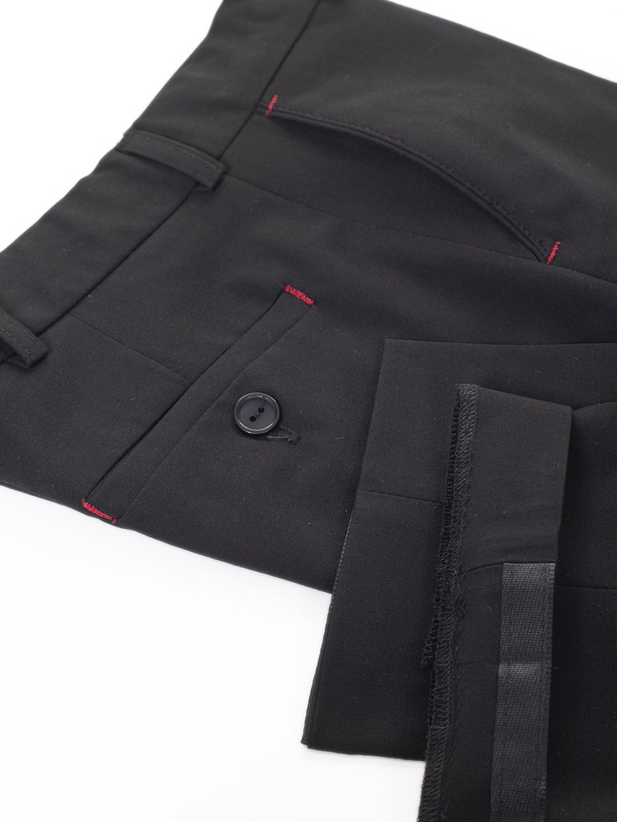 Брюки для мальчика классические, умеренного объема из текстиля, цвет: черный