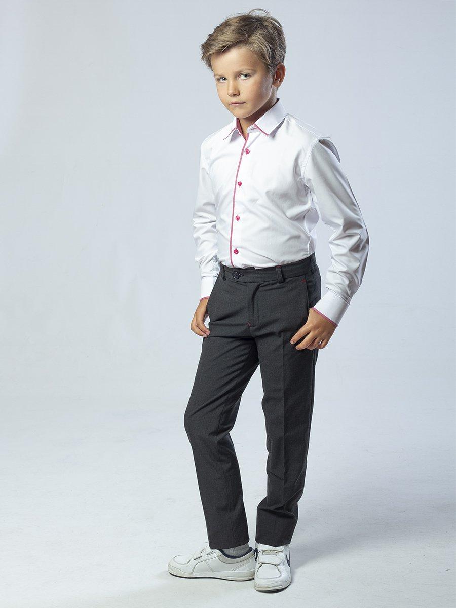Брюки зауженные со средней посадкой для мальчика, цвет: серый