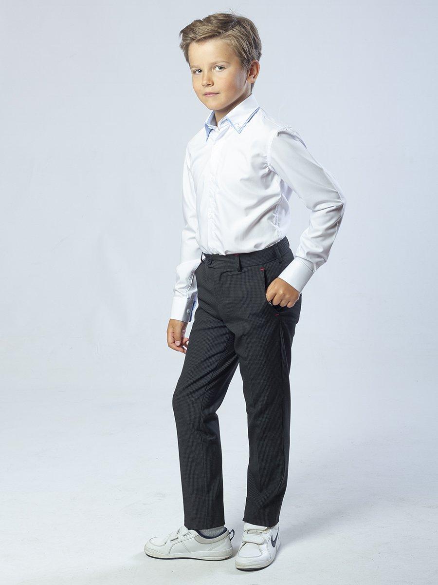 Брюки текстильные для мальчика зауженные к низу, цвет: клетка