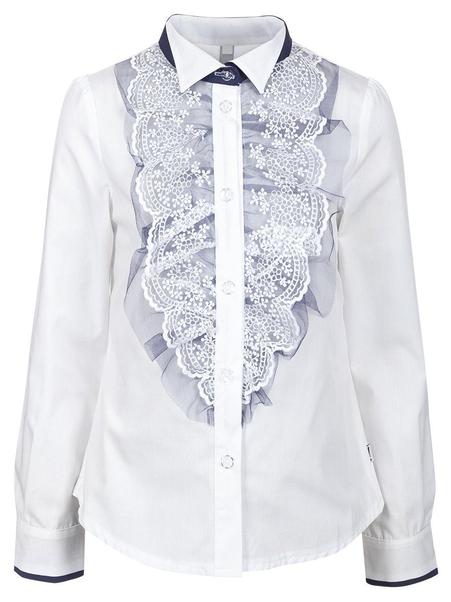 Блузка текстильная для девочки, цвет: темно-синий