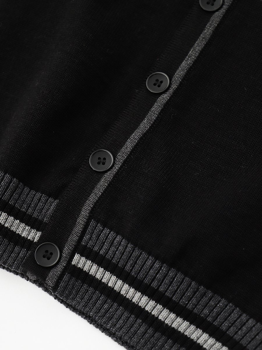 Кардиган вязаный для мальчика, цвет: черный