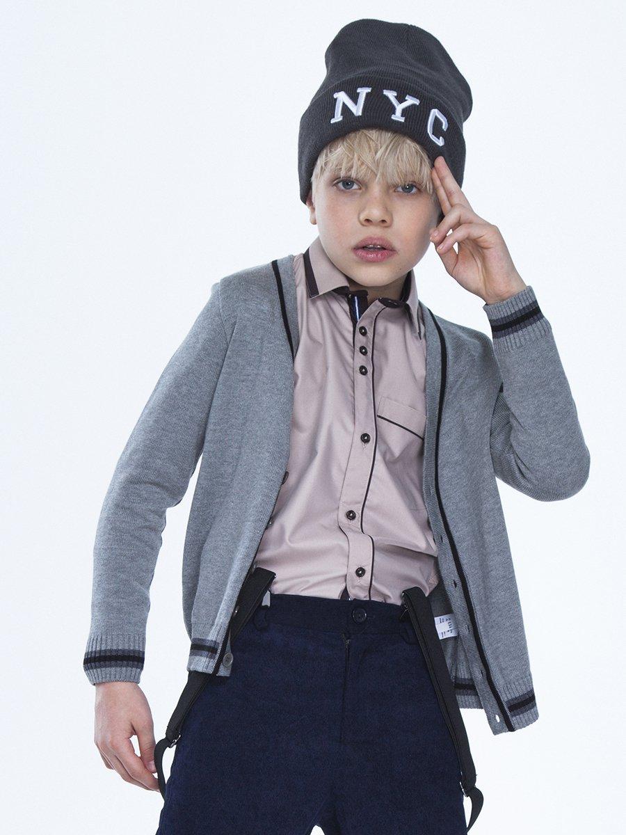 Кардиган вязаный для мальчика, цвет: светло-серый