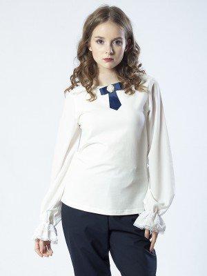 Блузка трикотажная с шифоновыми рукавами для девочки