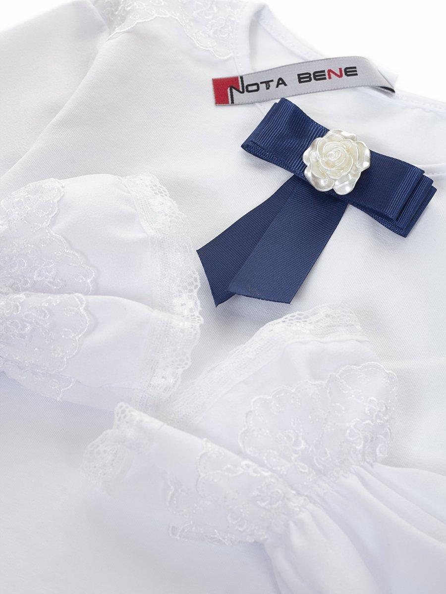 Блузка трикотажная с шифоновыми рукавами для девочки, цвет: белый