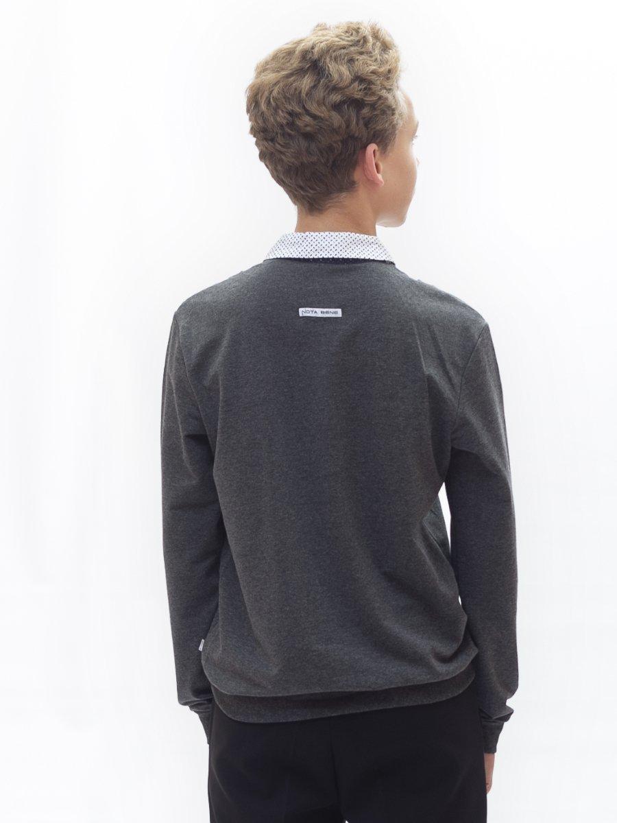Джемпер-обманка для мальчика, цвет: темно-серый