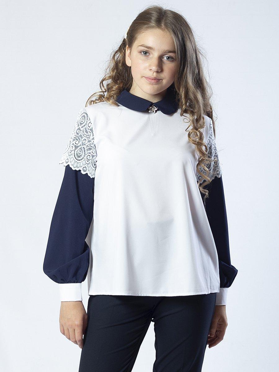 Блузка из искусственного шелка с нижней майкой из хлопка, цвет: белый