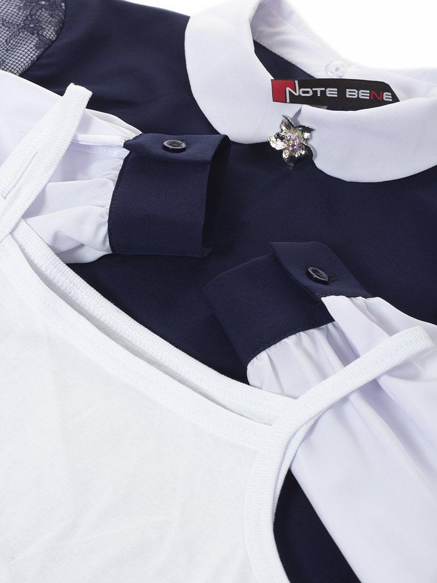Блузка из искусственного шелка с нижней майкой из хлопка, цвет: синий