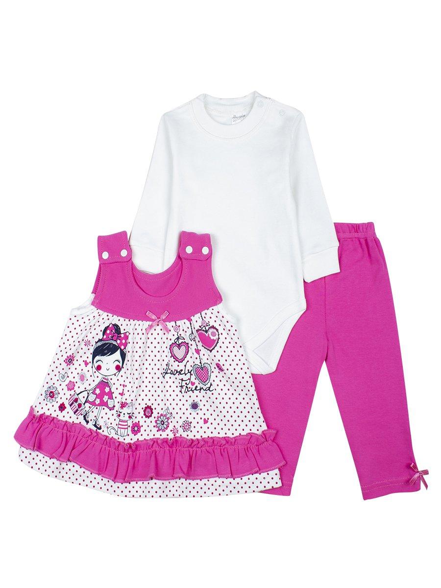 Комплект для девочки: боди, лосины и сарафан, цвет: розовый
