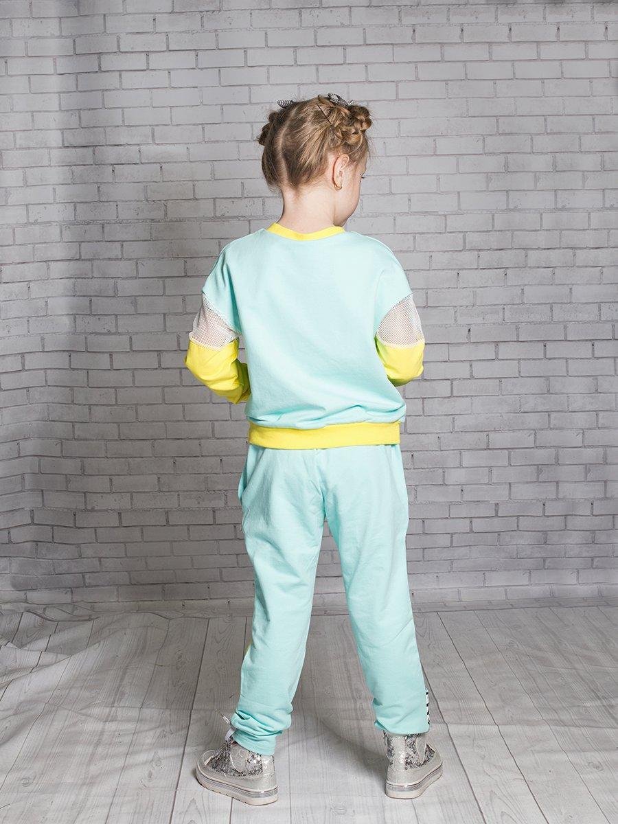 Брюки спортивные зауженные для девочки, цвет: мятный