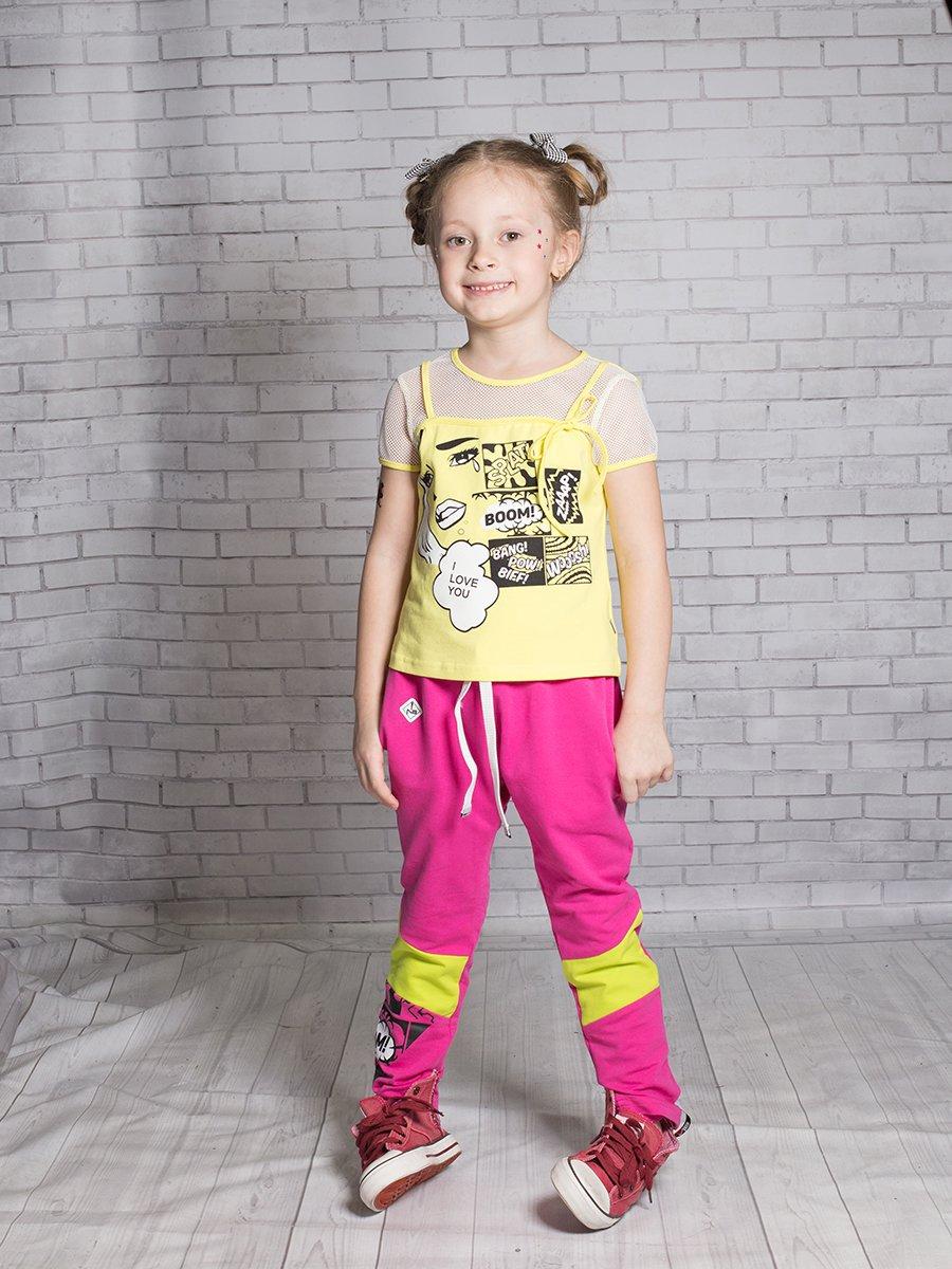 Брюки спортивные зауженные для девочки, цвет: малиновый