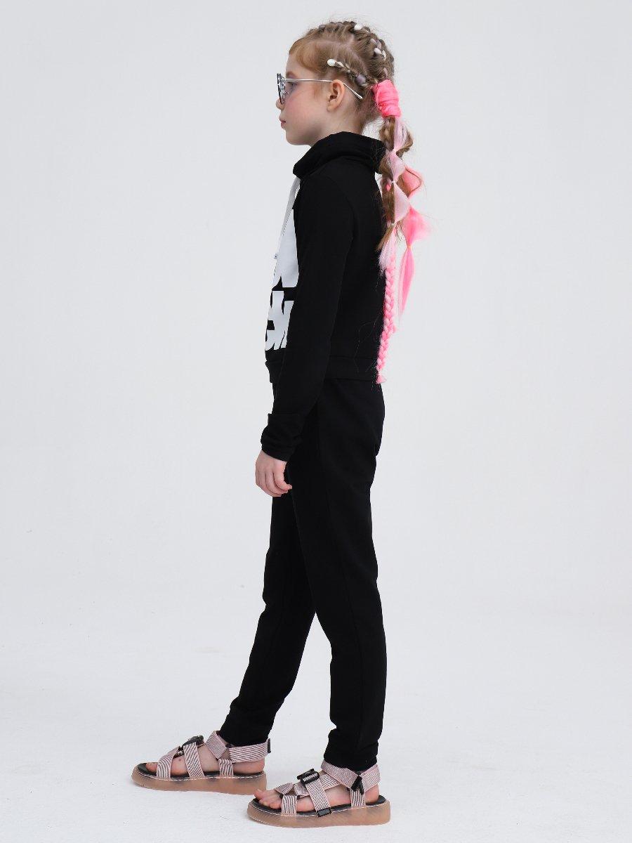 Костюм спортивный:свитшот укороченный и брюки зауженные, цвет: черный