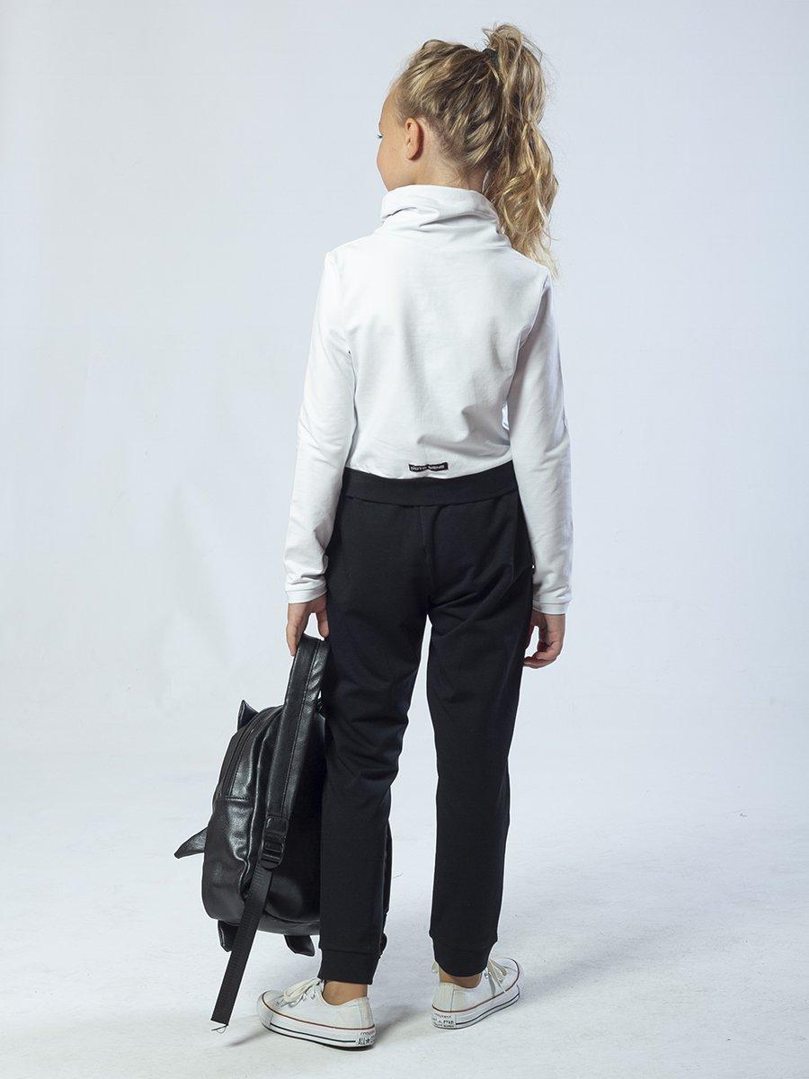 Костюм спортивный:свитшот укороченный и брюки зауженные, цвет: белый