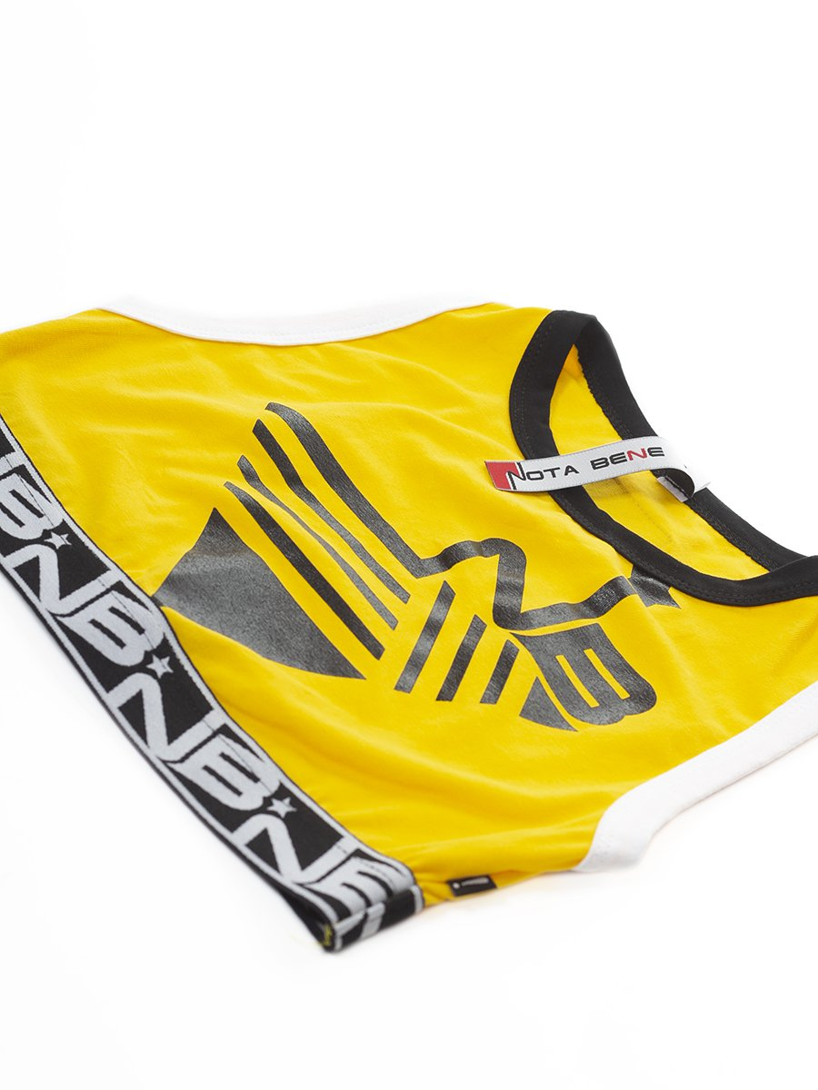 Костюм спортивный:топ укороченный и леггинсы, цвет: желтый