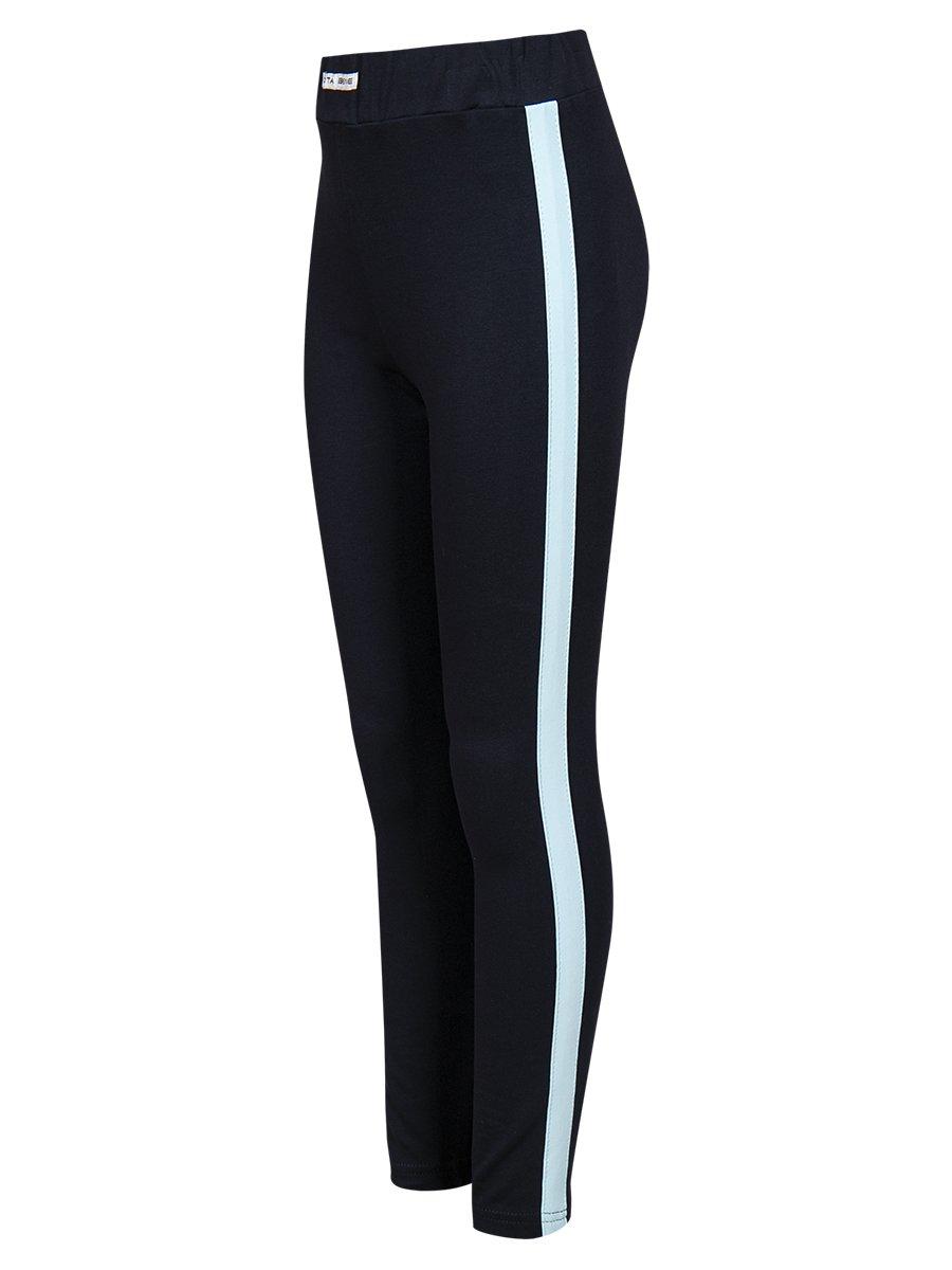 Костюм спортивный: свитшот укороченный и лосины с лампасами, цвет: голубой