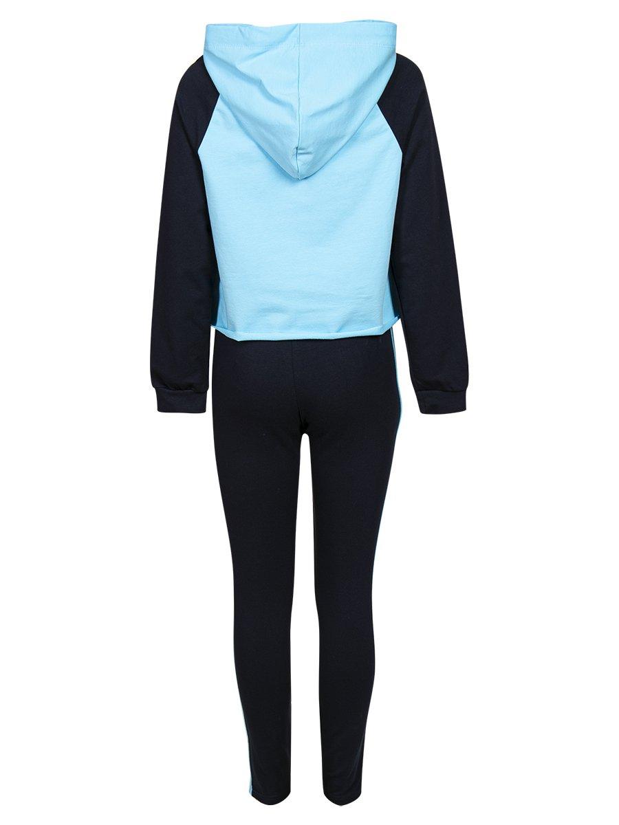 Костюм спортивный:свитшот укороченный и леггинсы с лампасами, цвет: голубой,темно-синий