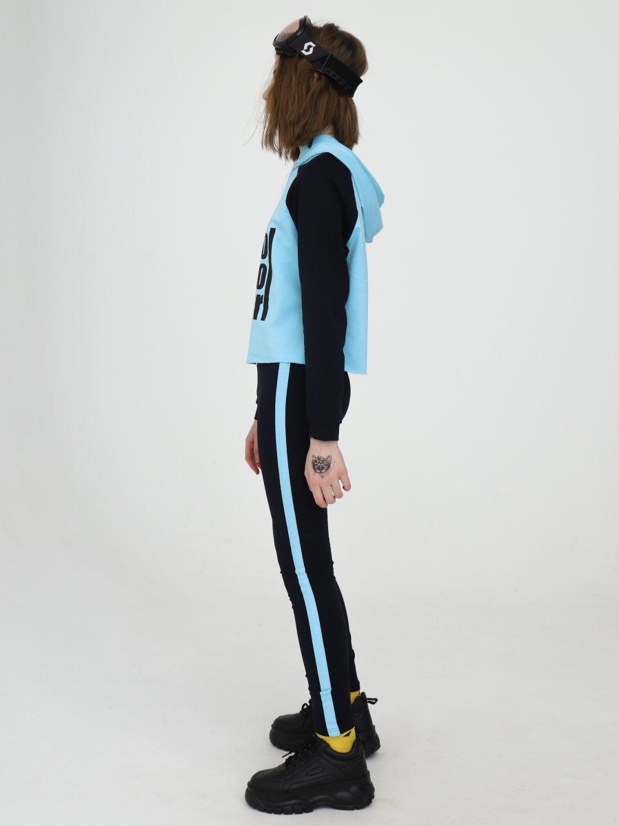 Костюм спортивный: свитшот укороченный и лосины с лампасами, цвет: голубой,темно-синий