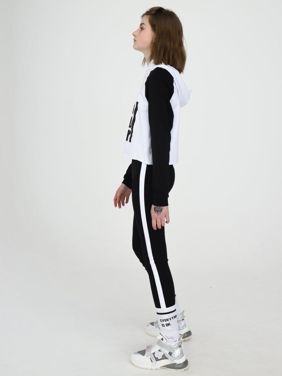 Костюм спортивный:свитшот укороченный и леггинсы с лампасами, цвет: белый