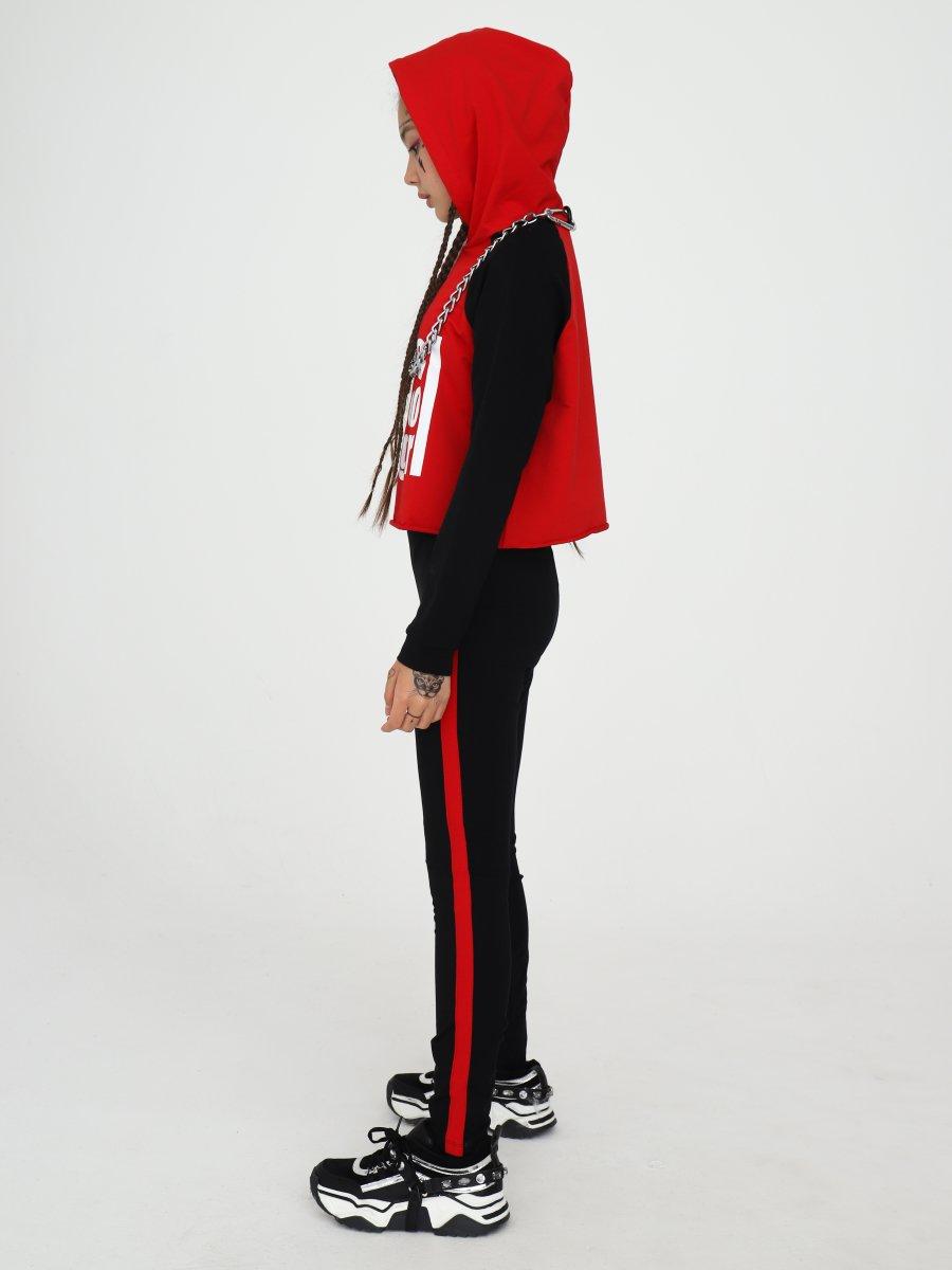 Костюм спортивный: свитшот укороченный и лосины с лампасами, цвет: красный