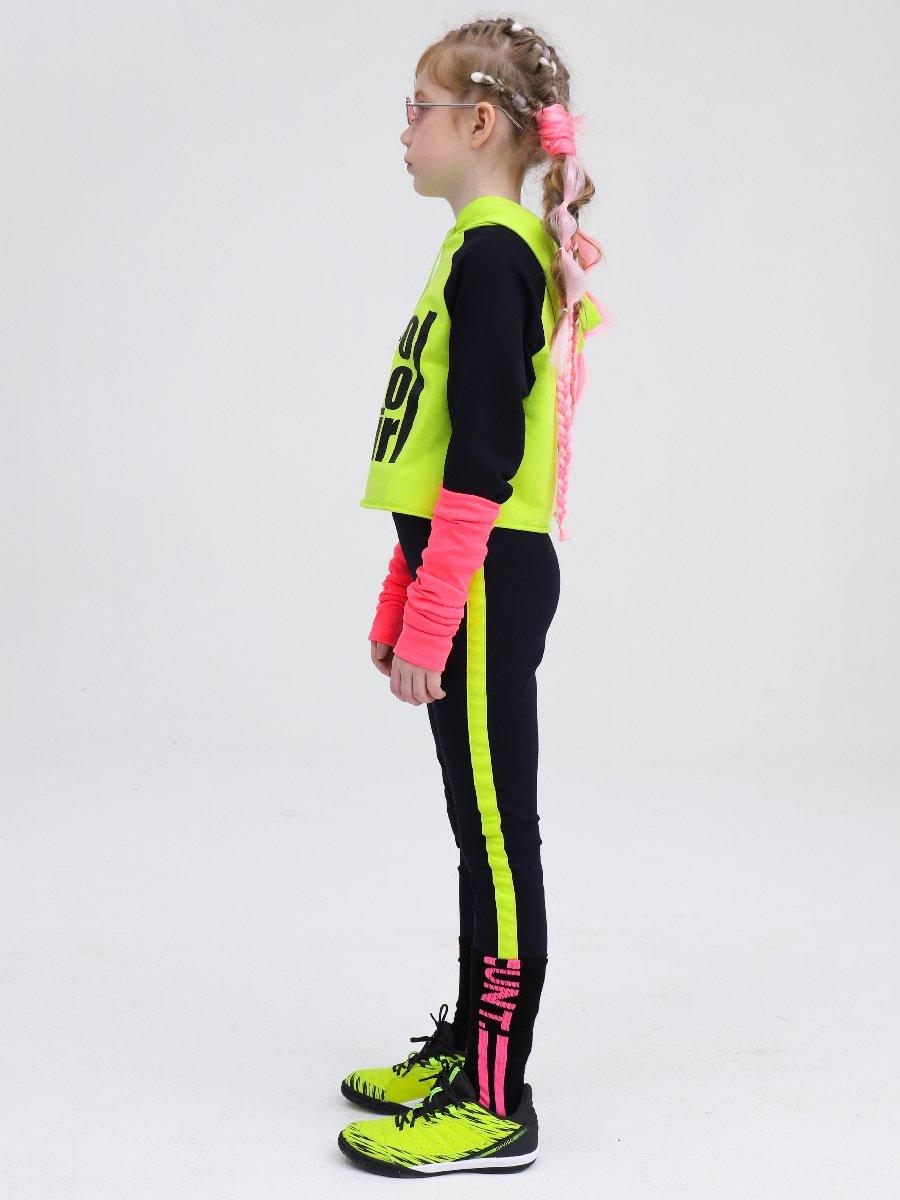Костюм спортивный: свитшот укороченный и лосины с лампасами, цвет: салатовый,темно-синий