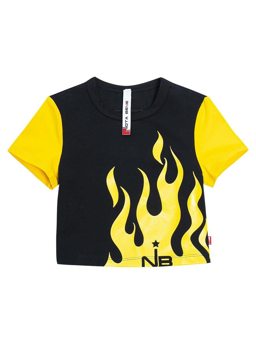Костюм спортивный:футболка укороченная и леггинсы, цвет: черный