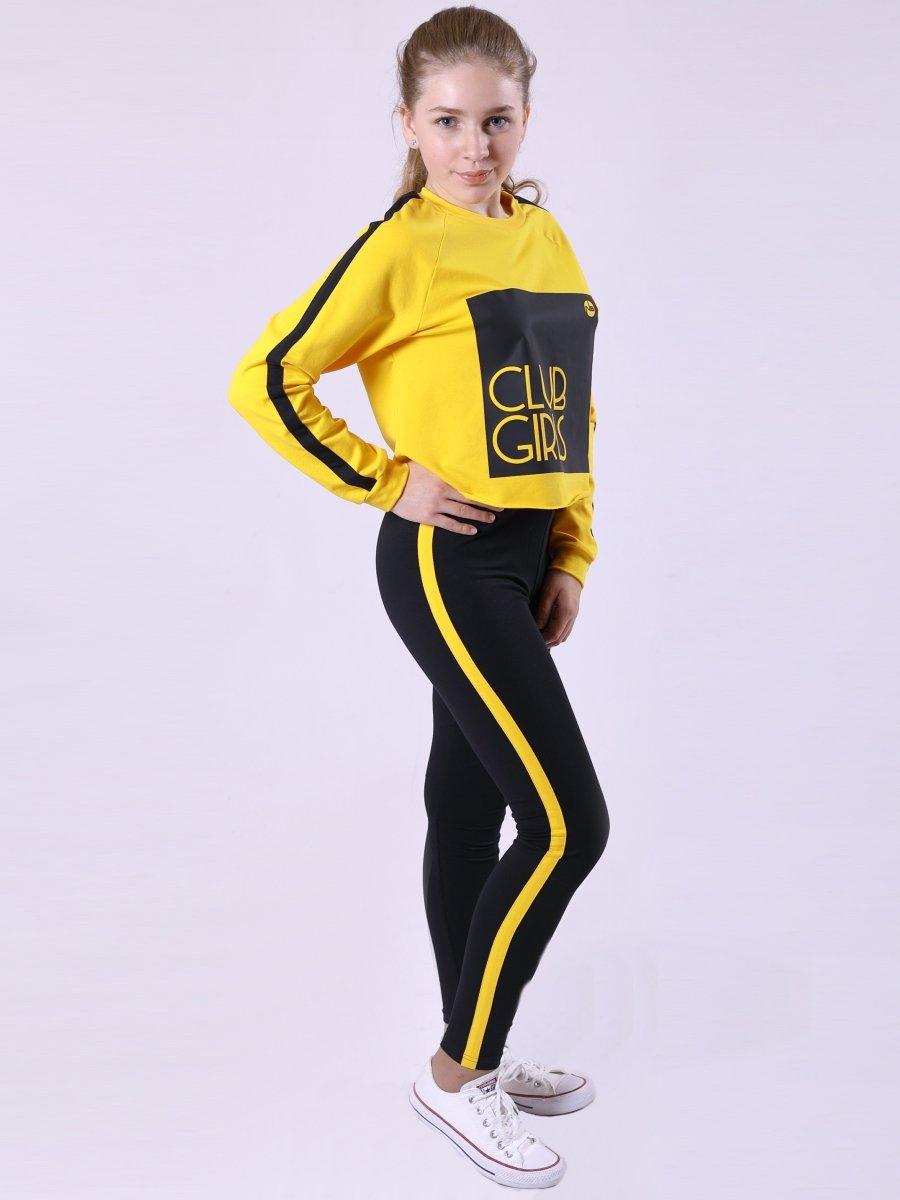 Костюм спортивный: свитшот укороченный и лосины с лампасами, цвет: желтый