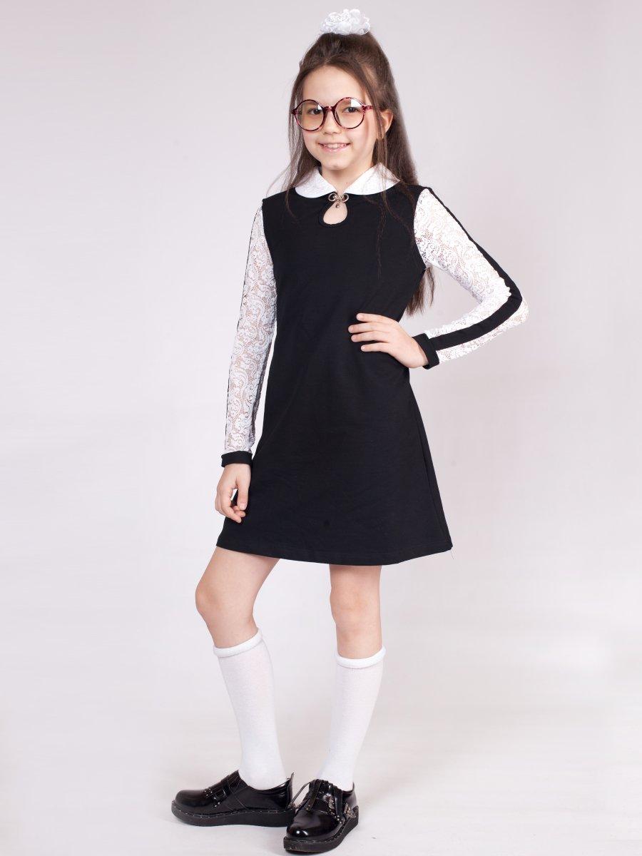 Платье А-силуэта для девочки, цвет: черный