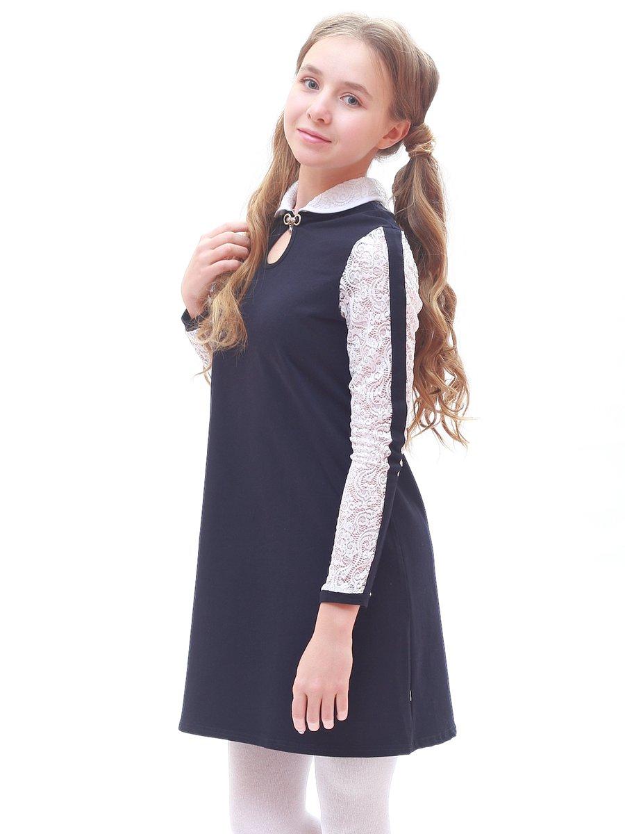 Платье А-силуэта для девочки, цвет: темно-синий