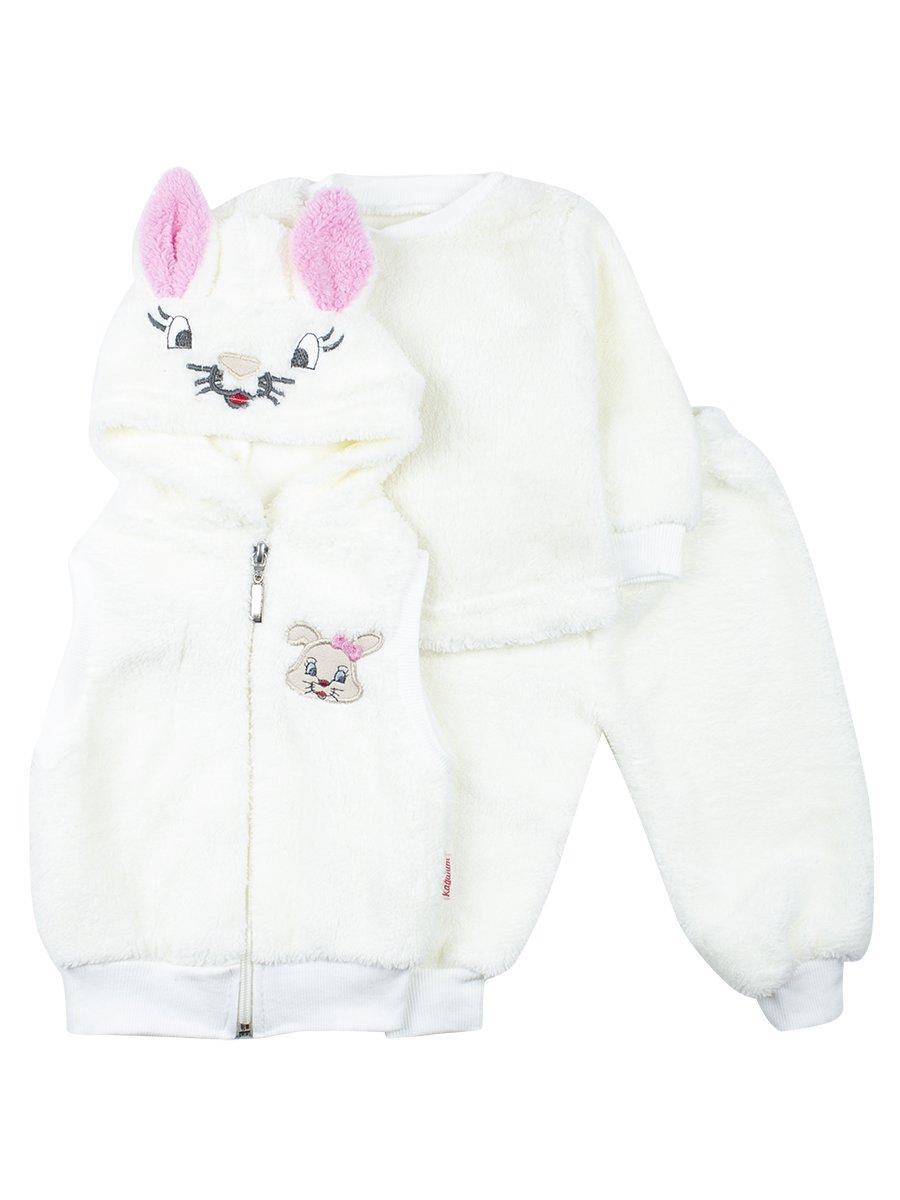 Комплект детский махровый: кофточка, штанишки и жилетс капюшоном на молнии.