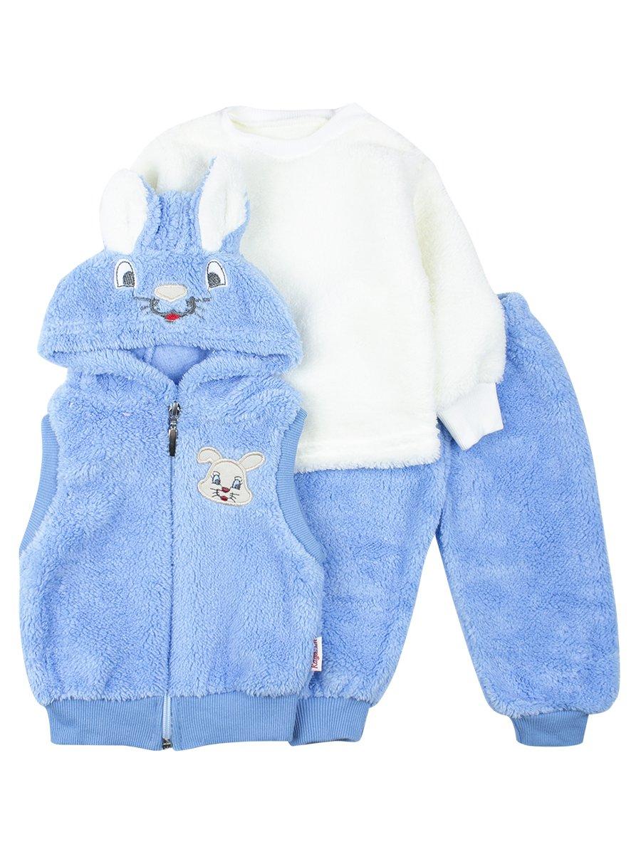 Комплект детский махровый: кофточка, штанишки и жилетс капюшоном на молнии., цвет: синий
