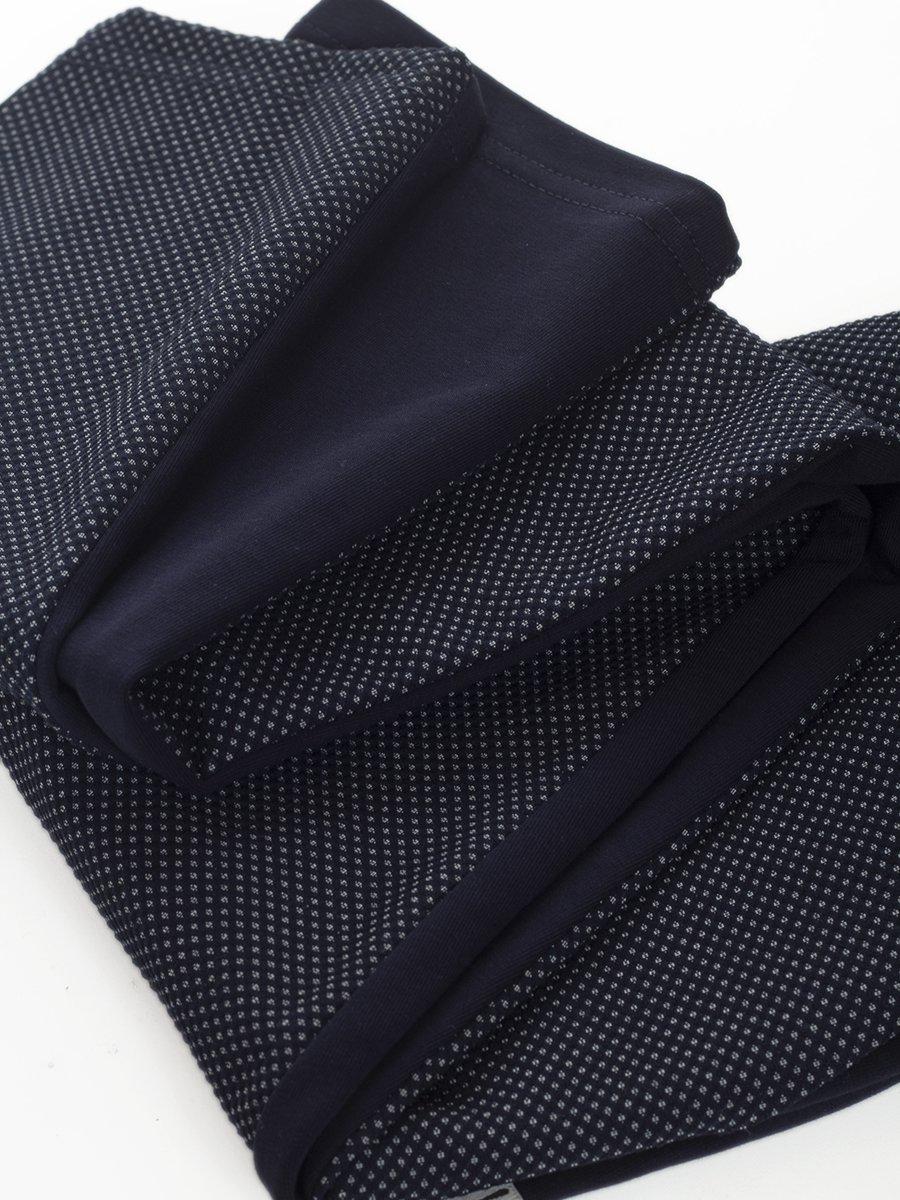 Брюки для девочки из футера и костюмной ткани, цвет: темно-синий