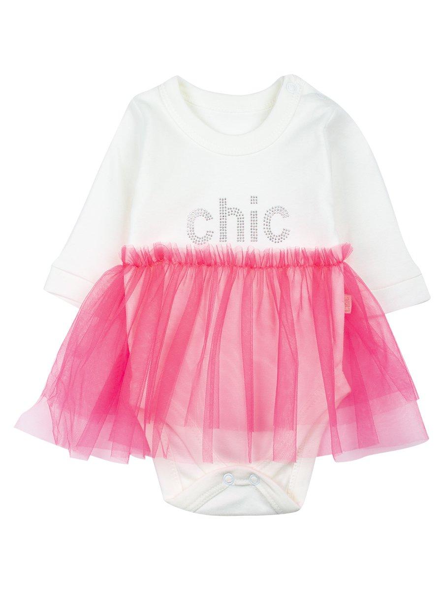 Боди с юбочкой из сетки, цвет: неон розовый