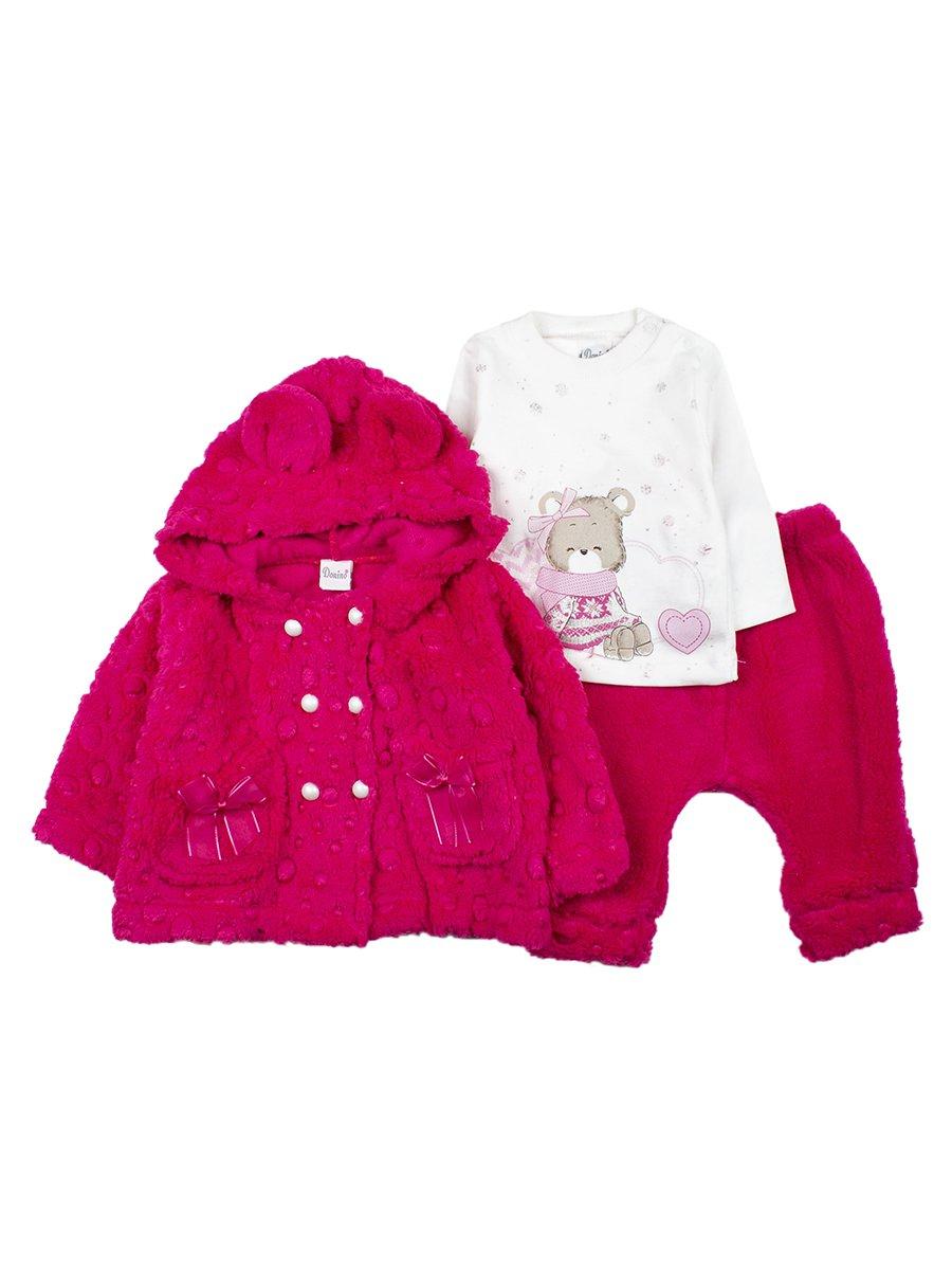 Комплект для девочки махровый: трикотажная кофточка,штанишки и кофта с капюшоном махровая, цвет: малиновый