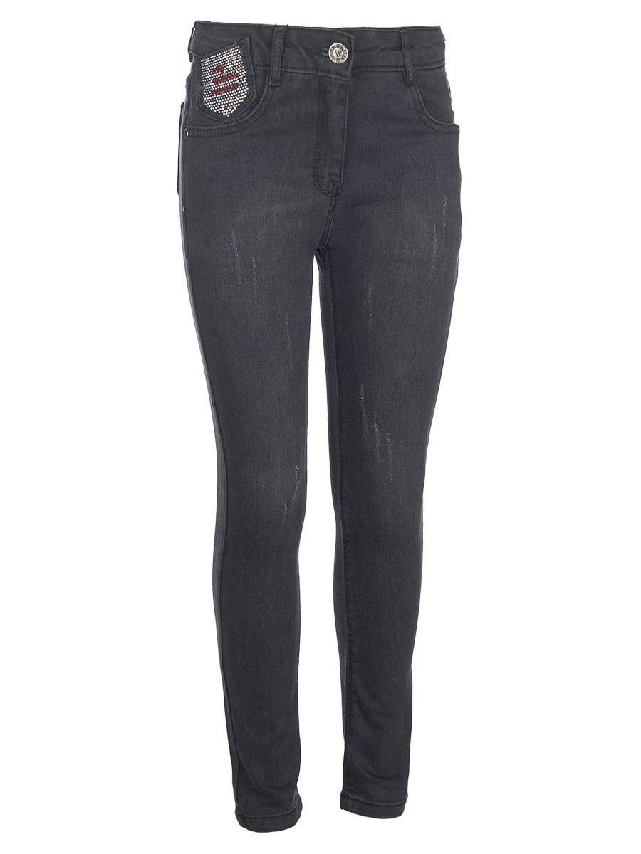 Брюки джинсовые для девочки, цвет: темно-серый