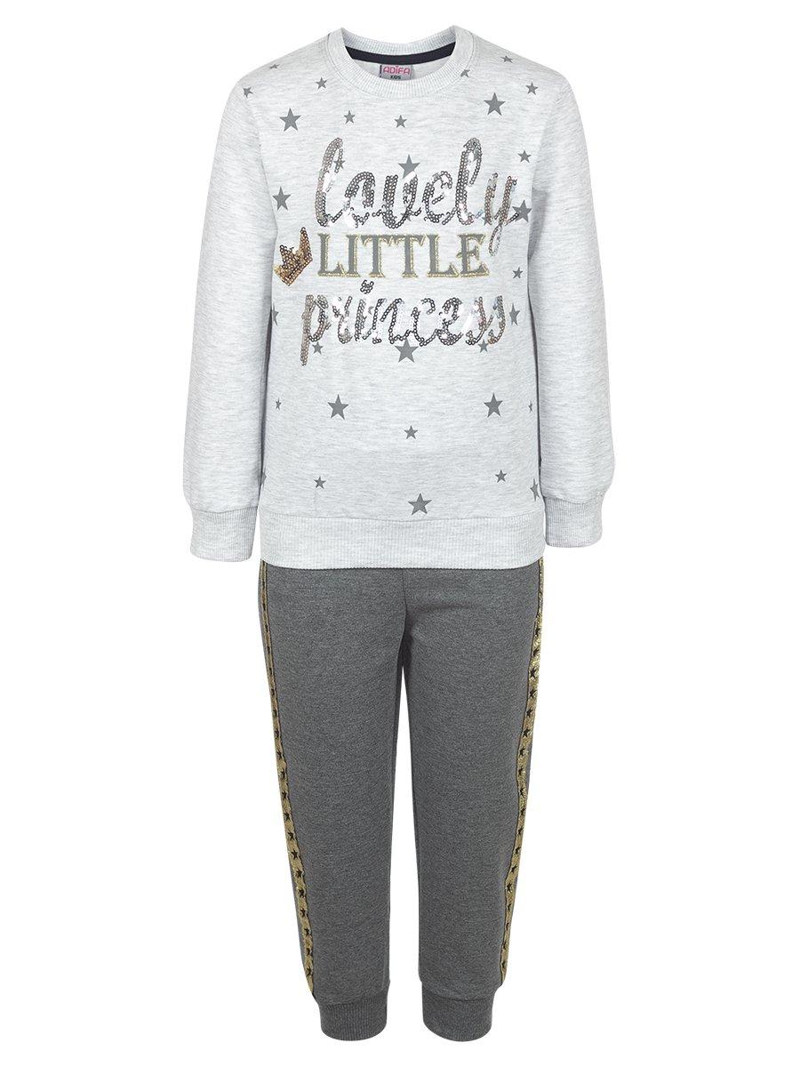 Комплект для девочки:свитшот и штанишки, цвет: серый меланж