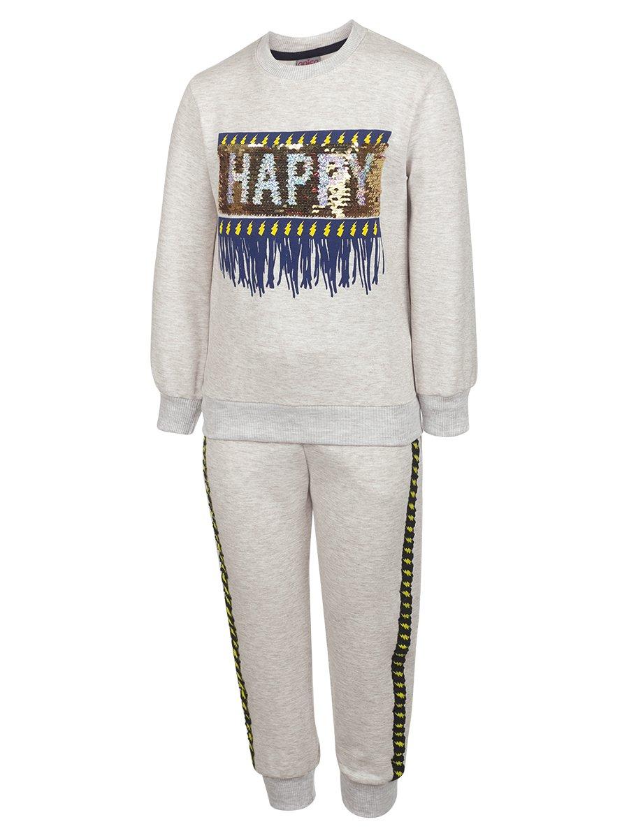 Комплект для девочки:свитшот и штанишки, цвет: светло-серый