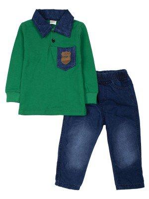 Комплект для мальчика: джинсы и поло с длинным рукавом