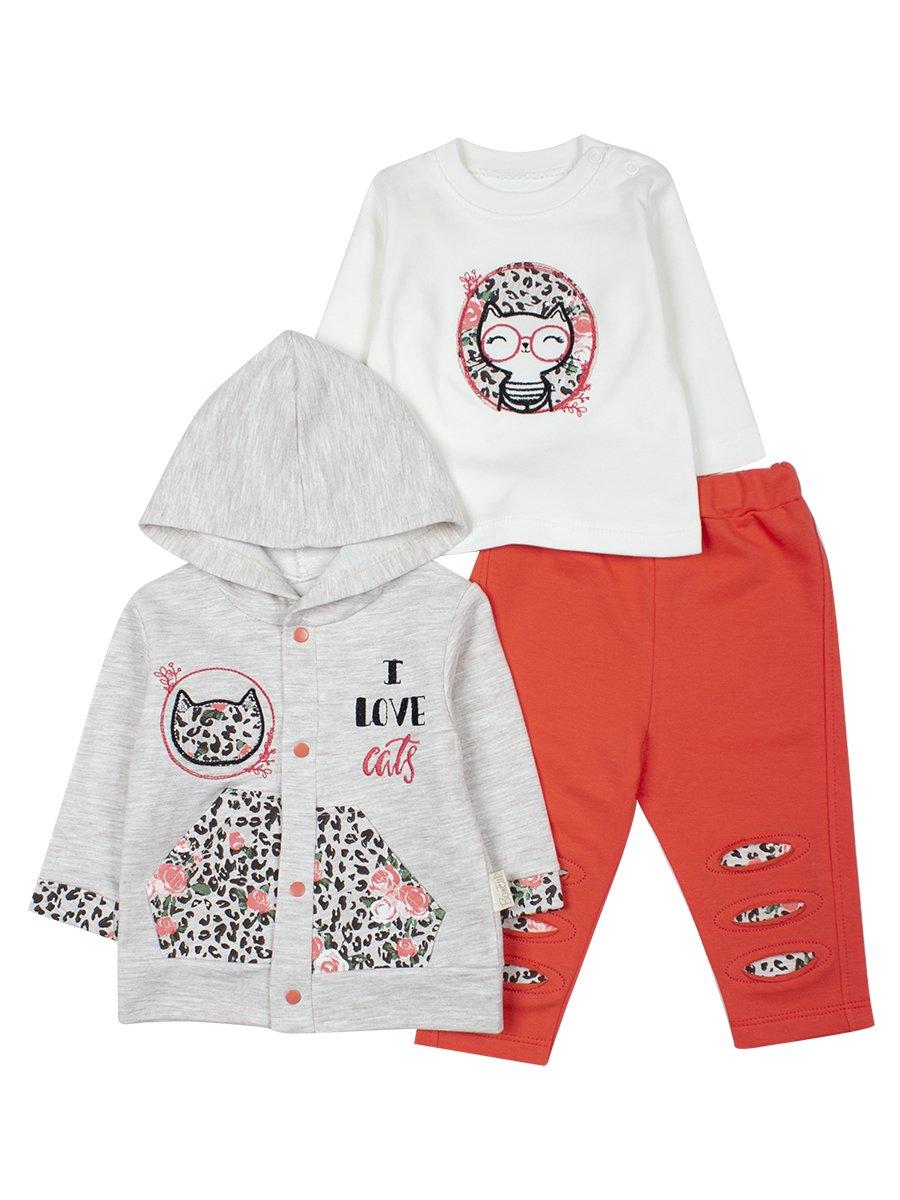 Комплект для девочки: толстовка на кнопках с капюшоном, кофточка и штанишки, цвет: коралловый
