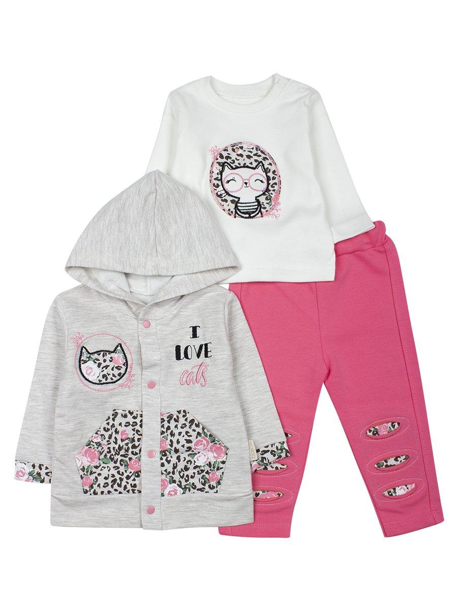 Комплект для девочки: толстовка на кнопках с капюшоном, кофточка и штанишки, цвет: розовый