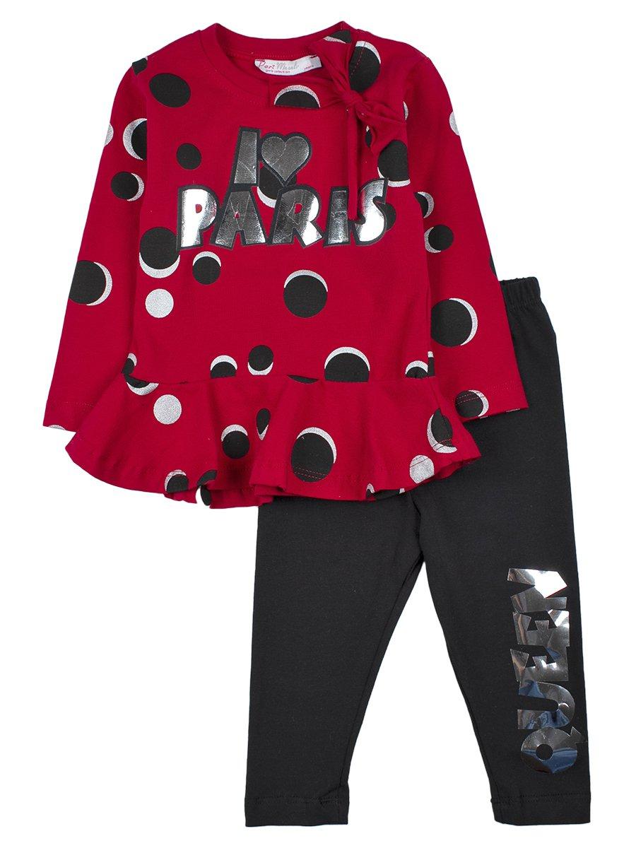 Комплект для девочки: туника и лосины, цвет: бордовый