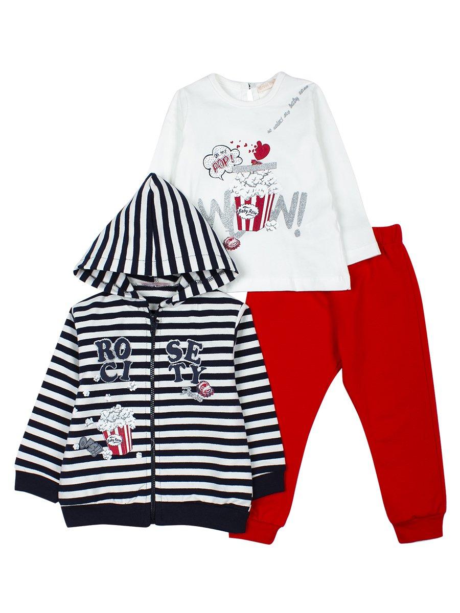 Комплект для девочки: кофточка,штанишки и толстовка на молнии с капюшоном., цвет: темно-синий