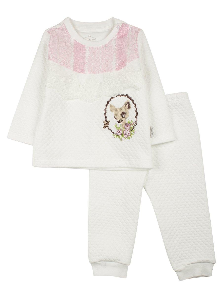 Комплект для девочки: кофточка и штанишки, цвет: молочный