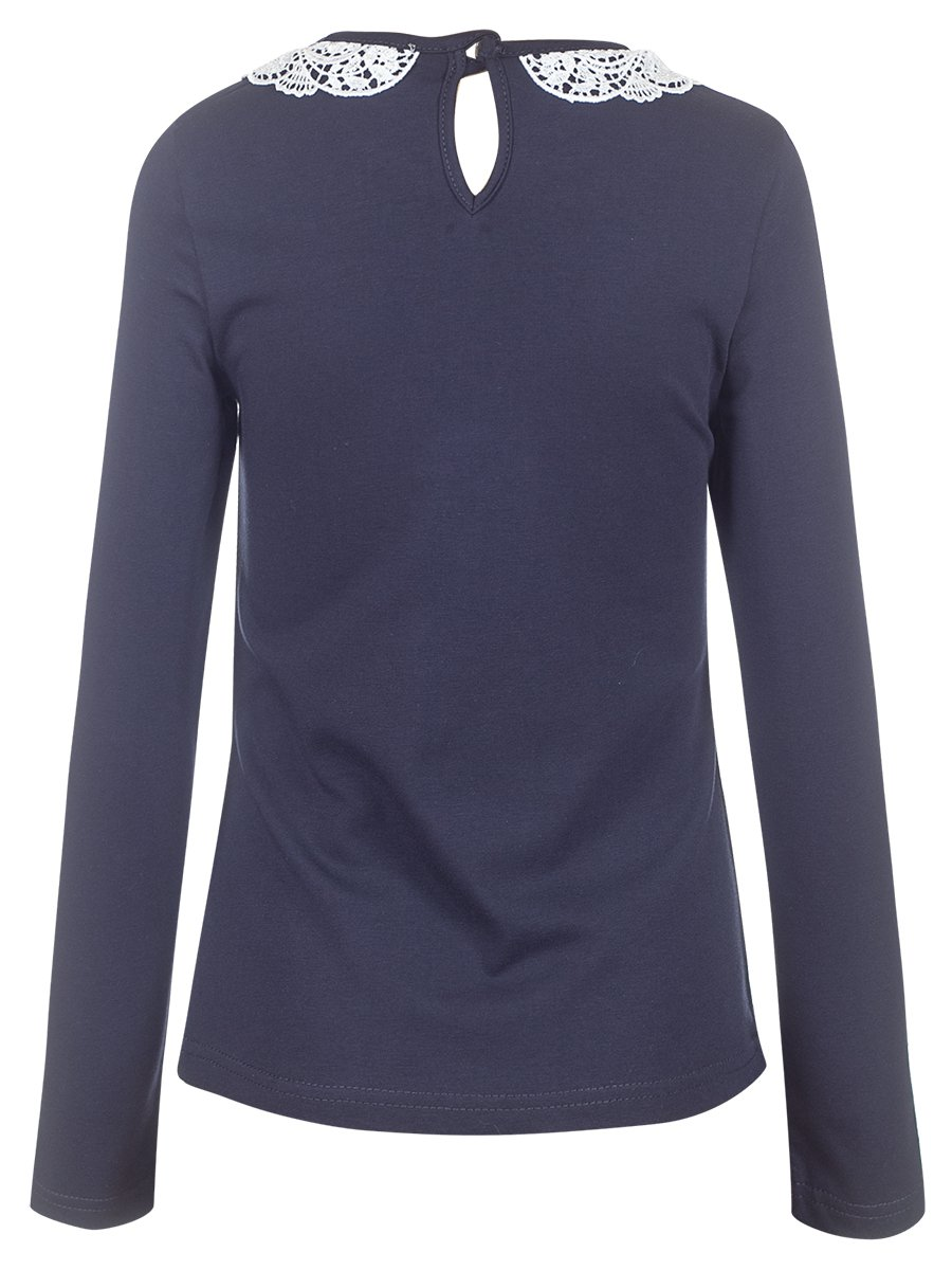 Блузка трикотажная для девочки, цвет: темно-синий