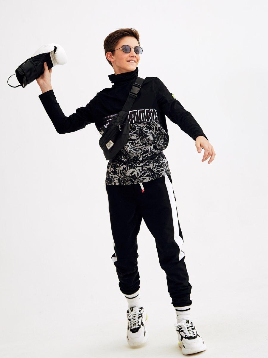 Водолазка для мальчика, цвет: черный,серый
