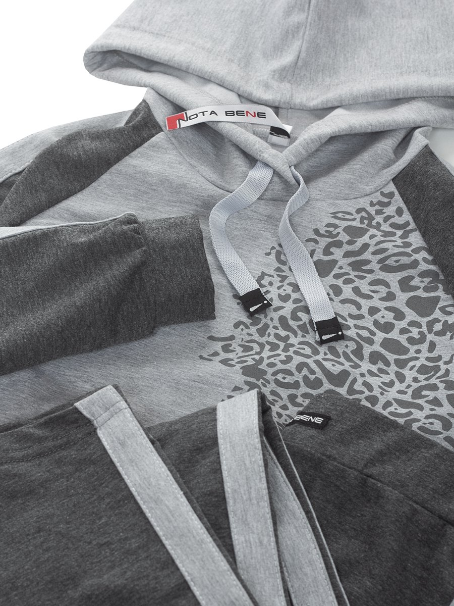 Костюм спортивный:свитшот укороченный и леггинсы, цвет: темно-серый