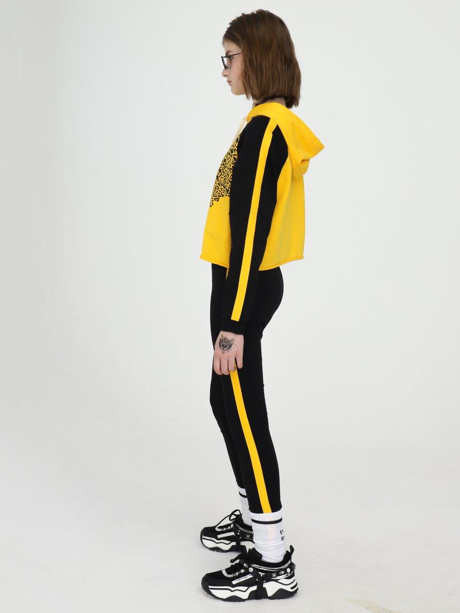 Костюм спортивный:свитшот укороченный и леггинсы, цвет: желтый
