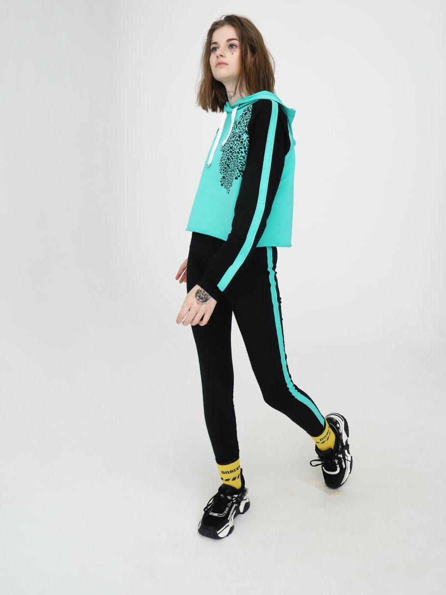 Костюм спортивный:свитшот укороченный и леггинсы, цвет: мятный