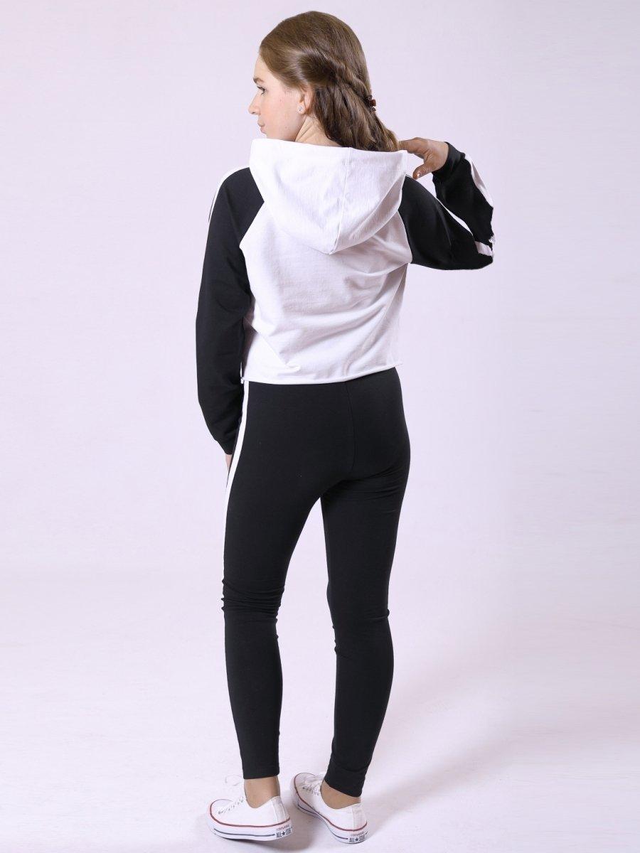 Костюм спортивный:свитшот укороченный и леггинсы, цвет: черный