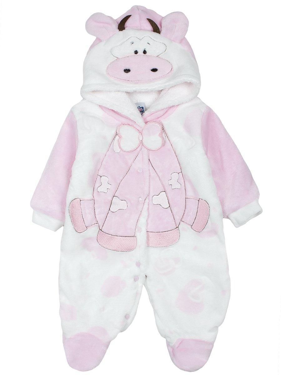 Комбинезон велюровый на махровой подкладке детский, цвет: светло-розовый